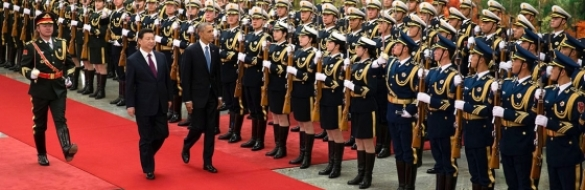 President Barack Obama and President Xi Jinping of China inspect the troops during the State Arrival Welcome Ceremony at the Great Hall of the People in Beijing, China, Nov. 12, 2014. (Official White House Photo by Chuck Kennedy)