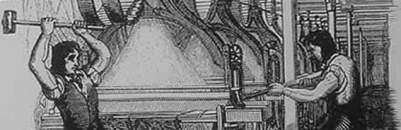 A Luddite preparing to smash a loom.