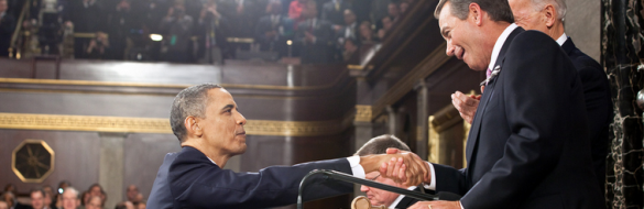 President Barack Obama shakes hands with Speaker of the House John Boehner before delivering the State of the Union address at the U.S. Capitol in Washington, D.C., Jan. 25, 2011. (Official White House Photo by Pete Souza)