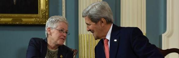 EPA Administrator Gina McCarthy meeting with Secretary of State John Kerry on Feb. 18 (via Twitter)