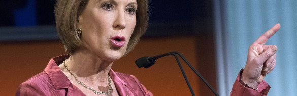 """Republican presidential candidate Carly Fiorina speaks during the """"Happy Hour"""" debate forum at the Quicken Loans Arena, Thursday, Aug. 6, 2015, in Cleveland. (AP Photo/John Minchillo)"""