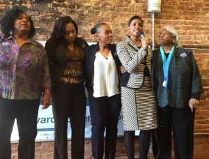 Edwards, surrounded by family at Saturday's event.