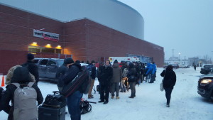 The line at the media entrance.