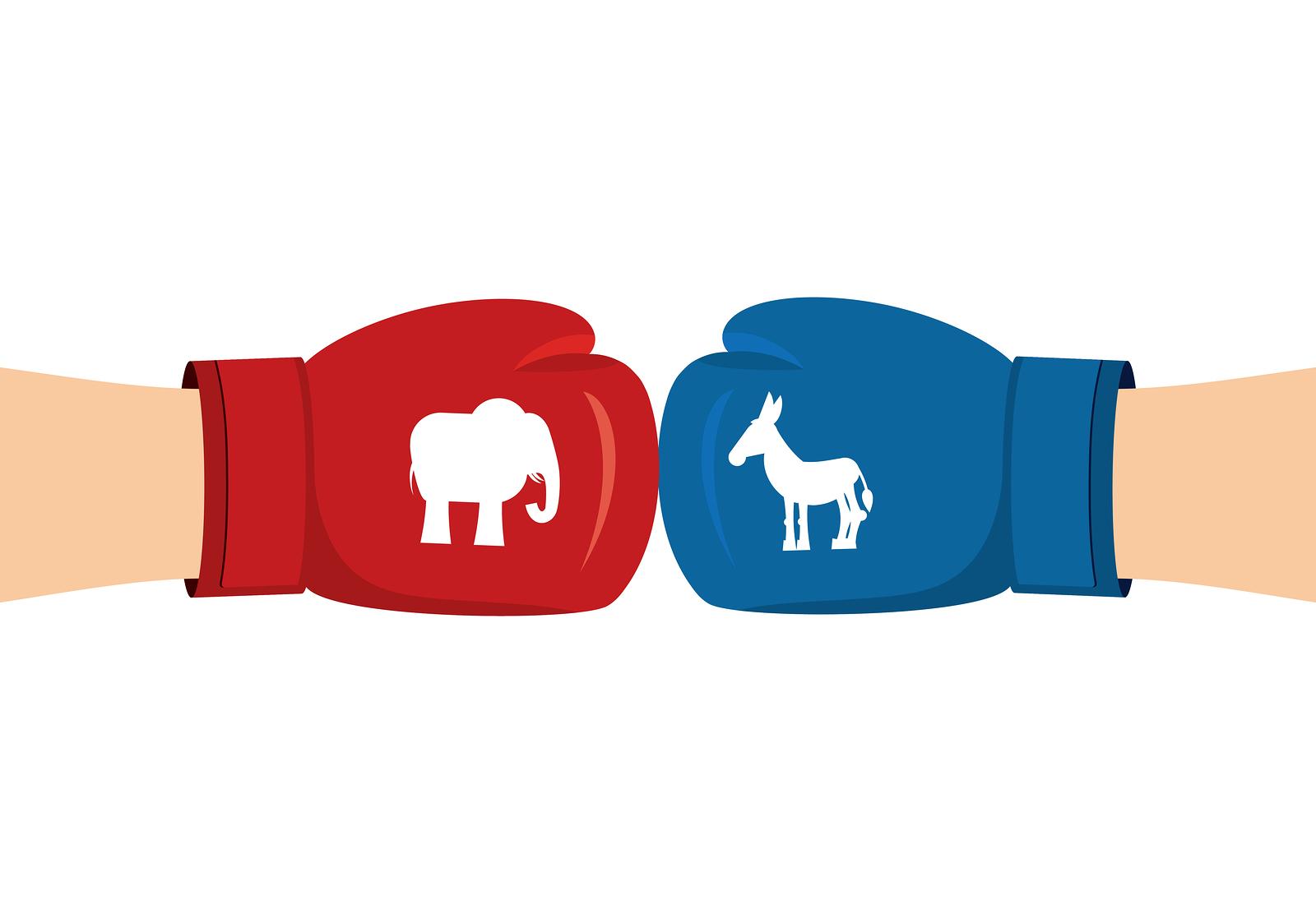 Elephant And Donkey Boxing Gloves Symbols Of Usa Political Part