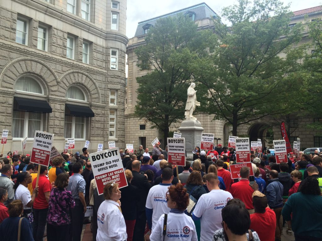 Labor unions picket outside the Trump hotel in Washington D.C. (Connor D. Wolf/InsideSources)