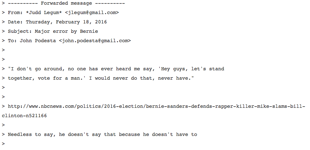 An email from Judd Legum, founder and editor of liberal political blog ThinkProgress at the Center for American Progress, to Hillary Clinton campaign chairman John Podesta about a Bernie Sanders story. (Photo from WikiLeaks)