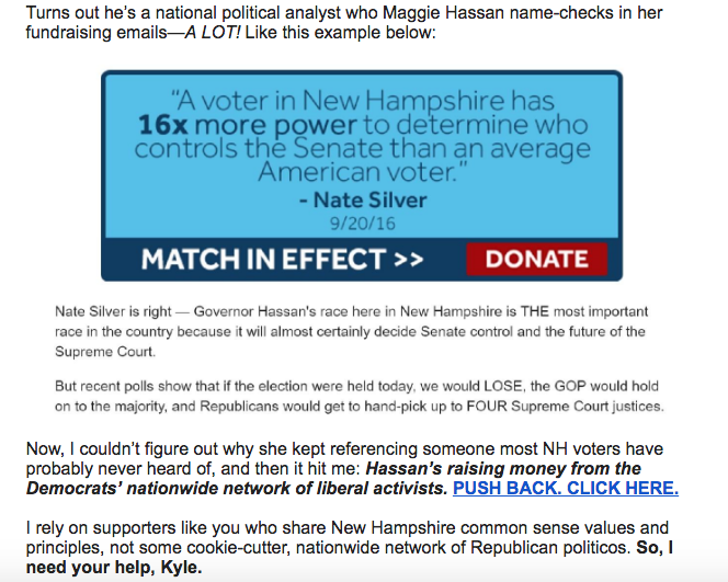 Screenshot of Kelly Ayotte's campaign email