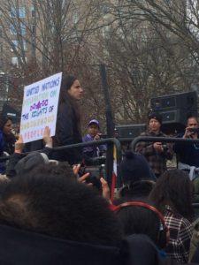 LaDonna Brave Bull Allard of the Standing Rock tribe addresses protesters. (InsideSources/Erin Mundahl)
