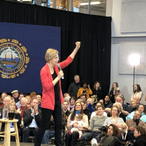 Elizabeth Warren Strikes Trumpian Themes in First Granite State Visit