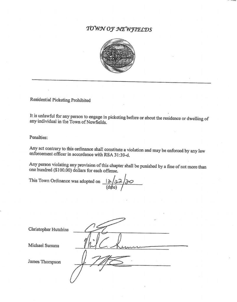 Newfields Ordinance Prohibiting Picketing